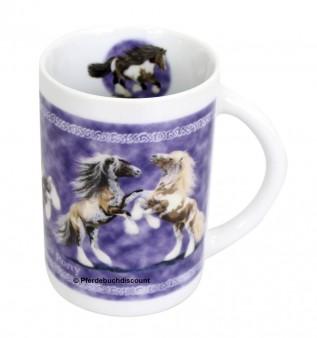 Sammler-Keramik-Tassen mit Pferdemotiv