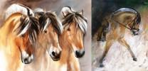 "2 Kunstdrucke Thomas Aeffner ""Fjordpferd"" & ""3 Fjordpferde"" im Set"