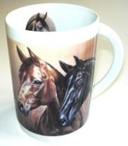 Sammler-Keramik-Tasse mit Pferdemotiv Pferdeköpfe