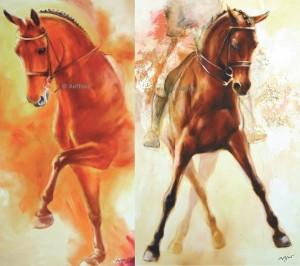 "2 Kunstdrucke Thomas Aeffner ""Dressurpferd I"" & ""Traversale II"" im Set"