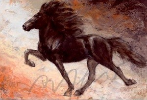Kunstpostkarte Islandpferde Blettur Thomas Aeffner