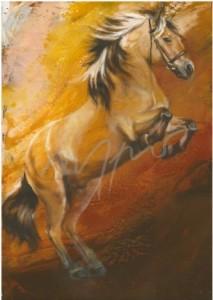 Kunstpostkarte Fjordpferde Merlin Thomas Aeffner