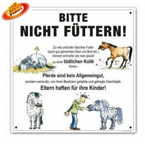 """Schild 30 x 30 cm """"Bitte nicht füttern"""" für Offenstall / Weide / Koppel"""