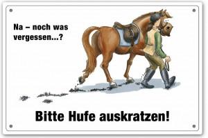 Schild - Bitte Hufe auskratzen...