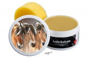 Zwekk© - Leder-Pflege-Set Leder-Balsam 250 ml Pferdemotiv 3 Fjordpferde