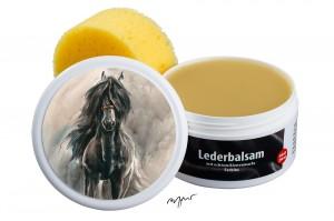 Zwekk© - Leder-Pflege-Set Leder-Balsam 250 ml Pferdemotiv Friesenpferd Gabke