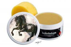 Zwekk© - Leder-Pflege-Set Leder-Balsam 250 ml Pferdemotiv Friesenpferd Leon
