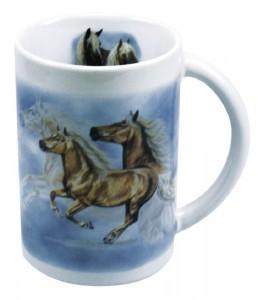 Sammler-Keramik-Tasse mit Pferdemotiv Haflinger Asterix