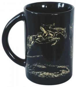 Sammler-Keramik-Tasse mit Pferdemotiv Springreiter