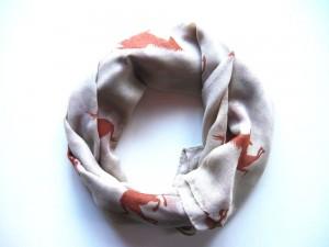 ZWEKK Loop - Schal mit Pferdemotiv, Farbe Beige/Braun