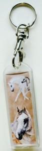 Plexiglas Schlüsselanhänger mit Karabiner und Schlüsselring, Pferdemotiv 10
