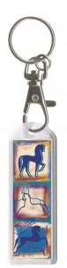 Plexiglas Schlüsselanhänger mit Karabiner und Schlüsselring, Pferdemotiv 17