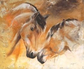 Kunstpostkarte Fjordpferde in Love Thomas Aeffner